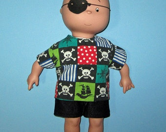 Caillou Classic 14.5 inch Doll Clothes Cute Pirate Shirt and Short  Set  Made In Usa   PBS  Sprout