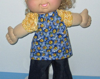 """Cabbage Patch, Doll Clothes,  Flowered Shirt with wide leg Denim Jeans,  14""""  or 15"""" Doll Clothes,  Adoptimals, Bell Bottoms"""