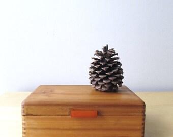 dovetail wood box jewelry case bakelite handle deco design mirror