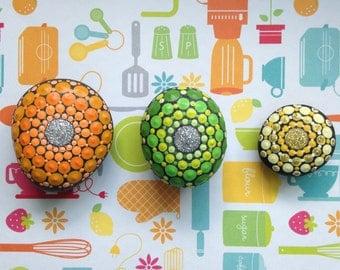 Hand Painted Mandala Stone Magnet Set of 3 in Citrus
