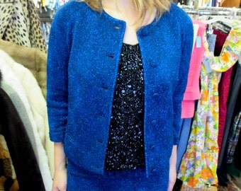 1960s Sparkly Blue Knit Skirt Suit - Wool Knit - Mad Men Style - 36-38 Bust - Salon Christian, St Denis, Montreal