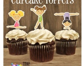 Gym Girls Party - Set of 18 Assorted Gymnast Cupcake Toppers by The Birthday House