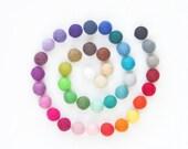 Felt Ball - Felt Bead - Felt Wool Ball 1 inch Bulk - White, Blue, Green, Brown, Pink Felt Ball 2cm - Needle Felt DIY Crafts - 20