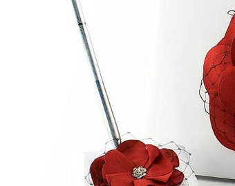 Red and Black Rose Wedding Pen Set - 25104RB