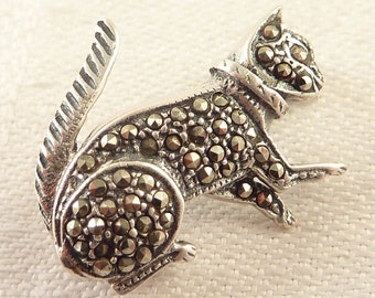 Vintage Sterling and Marcasite Collared Kitten Brooch