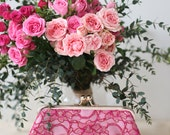 Fuchsia Peony Lace Clutch | Bridal and Bridesmaids Pink & Red Clutch