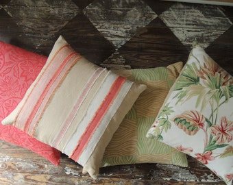Tropical coral coordinating floral stripe decorative hand block printed pillow boho home decor cotton colorful linen covers