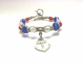 Nautical Anchor Red, White & Blue Hemp Bracelet Macrame (0203)