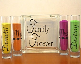 Family Blended Unity Sand Ceremony Glass Containers - Glass Block with Family Forever - Personalized - Side vessels Mr. Mrs. with Arrows
