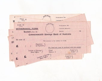 Australian Bank Ephemera, Vintage Commonwealth Savings Bank of Australia Withdrawal Forms 1940s, 8 Pieces