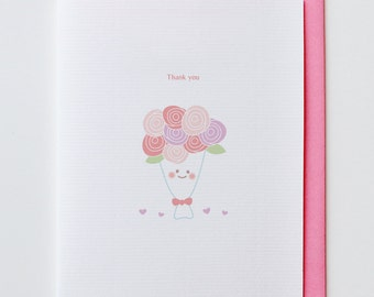 Rose Flowers Thank You Card - Funny Unique, Cute, Kawaii, Pink, Red, Love