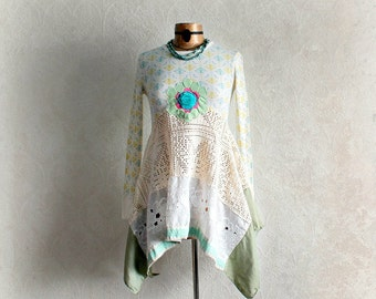 Shabby Lace Tunic Upcycled Women's Top Romantic Clothing Layered Boho Shirt Festival Clothes Fit Flare Long Sleeves Ragdoll Style S 'JASPER'