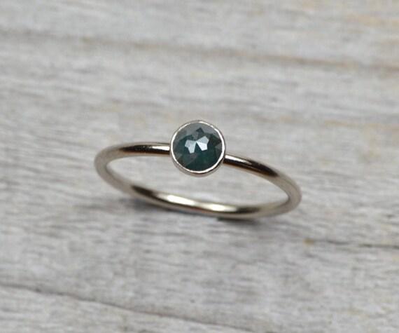 blue diamond engagement ring set in 18ct white gold, rose cut diamond solitaire ring, rear diamond ring, 0.39ct diamond wedding gift