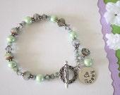 Mother Bracelet Personalized, Light Green, Bronze, Mint, Violet, Silver Bracelet, Czech Glass, Grandma, Nana, Mom, Mother, Monogram Charm