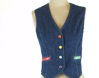 Vintage 70s Denim Space Legs Vest with Multicolor details // XS/S Small red green yellow purple blue 1970s jean hippie