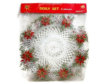 1960's Vintage Christmas Poinsettia Plastic Doilies NIP Brite Star Set Of 4 Red Green White Hostess Gift Hong Kong PeachyChicBoutique
