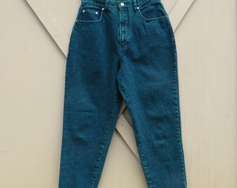 80s vintage L.A. Blues Dark Green Color Wash High Waist Tapered Leg Jeans