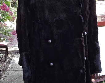 VintageLuxurious  Long Sheared Mink Coat Asymmetrical Collar