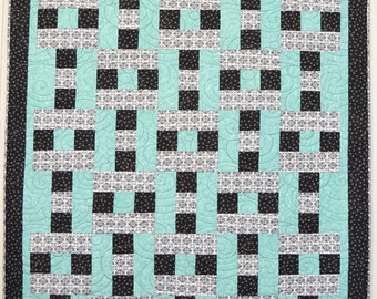 Quilt Modern Aqua and Black Handmade Patchwork