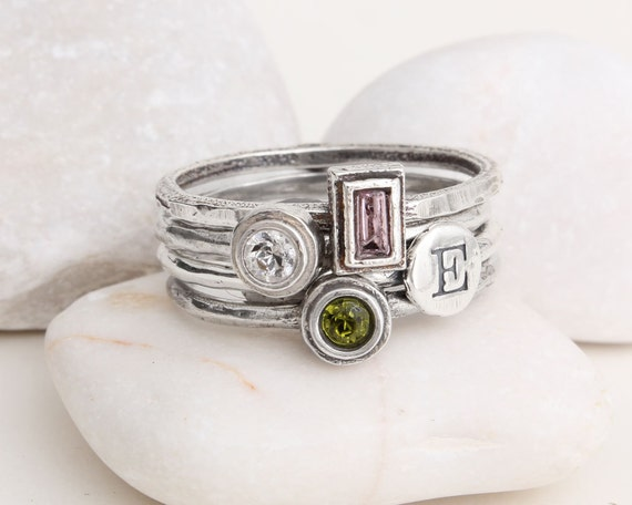 mother 39 s stackable birthstone initial ring stack in. Black Bedroom Furniture Sets. Home Design Ideas