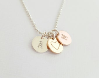 3 Disc Necklace rose gold, yellow gold filled and silver initial disc necklace grandmother necklace