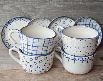 Stoneware rustic Tea Cups with saucers  -MADE TO ORDER - set of 4 - Rustic cream with blue decoration -  Handmade Ceramics