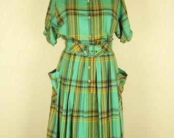 Vintage 1950s style Plaid Picnic Dress, Medium