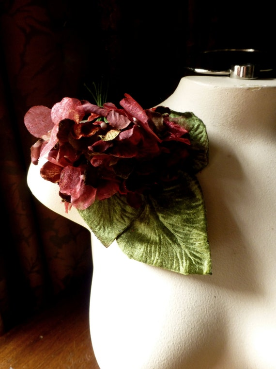 Deep Red Hydrangea Velvet & Organdy for Bridal, Boutonnieres,  Corsages, Fascinators, Hats, Bouquets MF 210