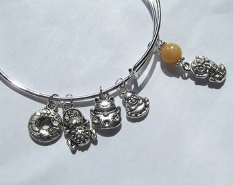Lucky Asian Wealth Charms Expandable Bangle Charm Bracelet