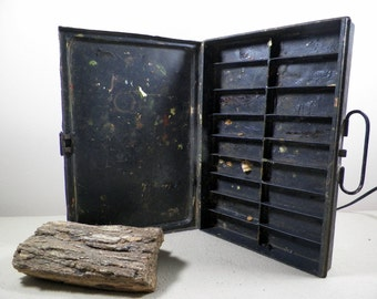 Vintage Metal Artist Paint Box/Suitcase/Palette, Paint-splattered OOAK Studio Organizer, Rustic Funky Desk Decor, Display