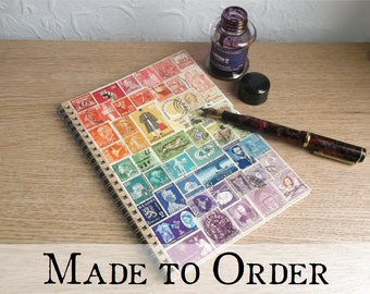 Rainbow Stamp Art A5 Spiral Planner - Made to Order