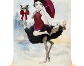 Artist Trading Card - Big Eyed Girl & Ostrich - Arriving In Style