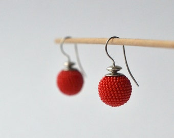 silver earrings red beads