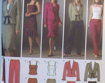 Simplicity 4885 Easy Sewing Pattern, Misses Career Wardrobe, Camisole, Ruffled Skirt Jacket, Scarf Pants, Plus Size 14 - 22, Pattern Destash