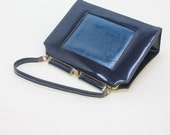 60's  Kelly Style Bag / Navy Blue /  Patent Leather