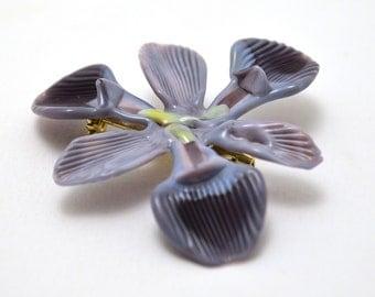 Stylized Iris Flower Brooch (2) - lampworked wearable glass flower made by Glass Artist Wesley Fleming