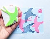 swallow silhouette stamp. bird hand carved rubber stamp. woodland animal stamp. wedding bird stamp. birthday spring crafts. large. no2
