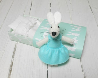 Woodland creatures gift daughter  plush white felt rabbit bunny in a matchbox mint green pastel  stuffed animal doll cute kids gift party