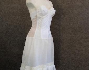 60's Vintage White Strapless Corset Bra Slip Dress w/ Stocking Garter Tabs Under Skirt, Metal Boned Bustier Full Slip, Pin Up Lingerie 34 B