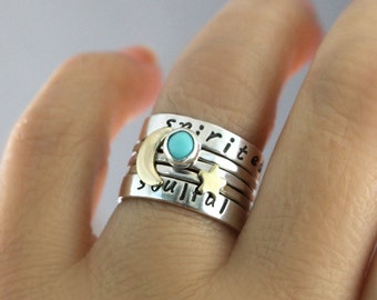 Custom Stack Ring Personalized Rings Turquoise Ring Personalized Name Moon Ring Star Ring Sterling Stack Rings Sterling Silver Ring