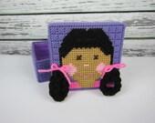 Girls jewelry Box, Purple box, black hair girl, doll accessory box, hair accessory box, Plastic Canvas Box, Childs Crayon Holder
