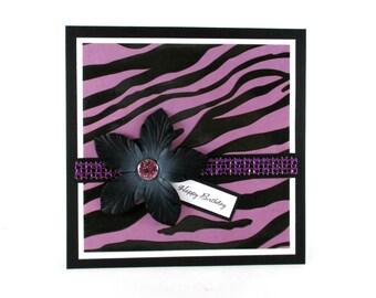 Birthday card, zebra print birthday, purple, feminine birthday, 21st birthday, 30th birthday, 40th birthday, PERSONALIZED card