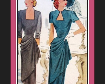 Vintage 1948-Gorgeous Side Cascade Evening Dress-Sewing Pattern-Two Styles-Square-Keyhole Neckline-Size 12-Mega Rare-Collectible