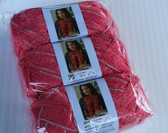 Lot of  6 balls New Red Heart Boutique Sashay Sparkle Yarn-Salmon