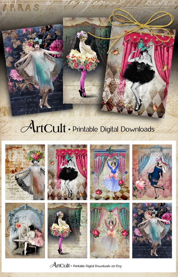 Printable Download DANCE WITH ME Digital Collage Sheet Gift tags Jewelry holders Greeting cards Vintage scrapbooking Paper Craft ArtCult