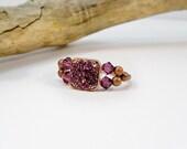 Copper Amethyst Cocktail Ring, Adjustable Ring, Stretch Band Ring, Birthstone Ring, Swarovski Crystal Ring, Handmade Ring, Statement Ring