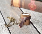 Mini Leather Journal Necklace, Rustic Book Jewelry