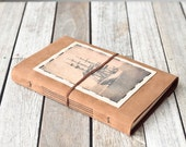 Tan Leather Journal with Tall Ship Photo, Sorlandet Travel Sketchbook