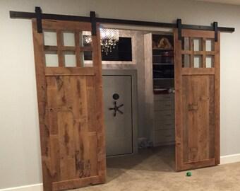 Reclaimed Barn Wood Door with Windows FREE SHIPPING -BWD650F