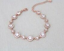 Rose gold Wedding bracelet, Crystal Bridal bracelet, Bridal jewelry, Simple bracelet, Halo bracelet, CZ Bracelet, Bridesmaid gift, Rose Gold
